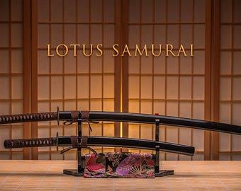 Lotus Samurai Twins Japanese Samurai Sword Katana Wakizashi Daisho Set