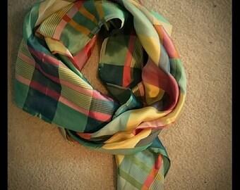 Silk summery plaid scarf