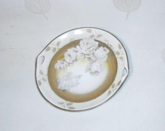 Thale Crown, bone china cake tray/serving platter, white roses/China/Shabby Chic/Germany