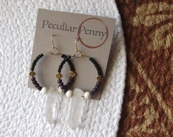 Purple, Black, and Gold Quartz Hoop Earrings
