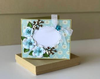 Custom card /3D/Birthday Card/Mother's Day Card/Valentine's Card/Anniversary Card/Wedding Card/Congratulations Card/Blue/gift card holder