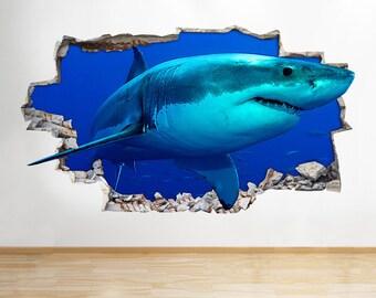 H127 Shark Smashed Ocean Living Wall Decal Poster 3D Art Stickers Vinyl Room Kids Bedroom Baby Nursery Cool Livingroom Hall Boys Girls