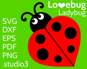 Ladybug SVG - Cute Lovebug with Heart - Cut File for Cricut & Silhouette - Love Lady Bug / Beetle Insect Vector Clipart - DXF EPS png file