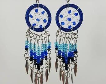 Blue Dreamcatcher dangle earrings