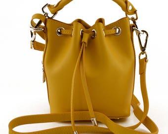 Genuine Leather Mini Bucket Bag