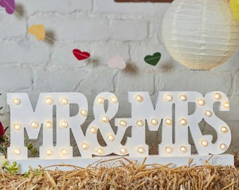 Mr and Mrs Light Up Wooden sign