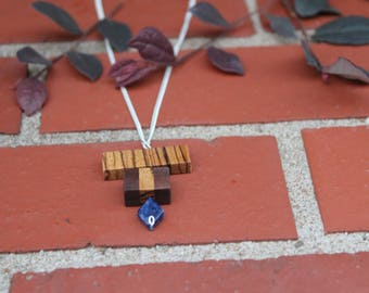 Sodalite Necklace Wood Necklace Wood Boho Jewelry Minimalist and Natural Necklace Wood Gift for her Handmade Jewelry Healing Crystal Gift