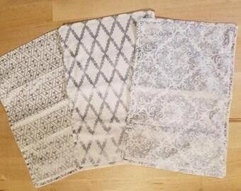 Silver Burp Cloth, Reusable Paper Towel, Burp Cloth, Rag