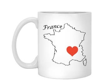 I Left My Heart In France Romantic Travel Gift Ideas Ceramic Coffee or Tea Mug