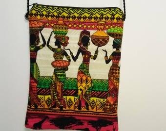 Colorful African print cross body bag
