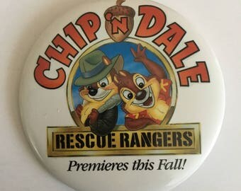 Chip N Dale Rescue Rangers Premiers this Fall, Vintage 1990s Disney TV Show Promotional Pinaback Button, 4inches