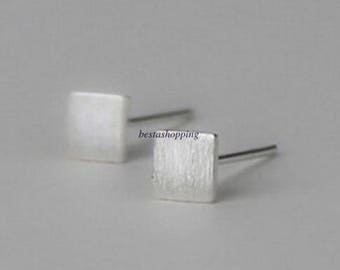 Simple Square Sterling Silver Earrings 925