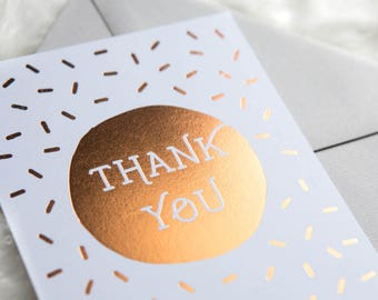 Thank You - Copper Foil Note Card! (confetti, shiny, thanks greeting card, stationery, gold foil)