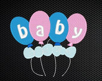 Baby Balloons Embroidery Design - 4x4 & 5x7 Inches Instant Download!