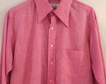 Vintage Designers Choice Red Button-Up Shirt Size Large 16 16 1/2 USA Made