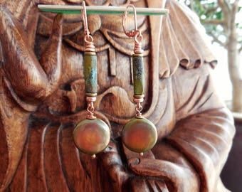 Natural Gemstone Greenish Magnificent Fresh Water Pearl Turquoise tubes Copper Lever Back earring wires  5288 A