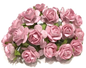 Pastel Pink Open Mulberry Paper Roses Or076