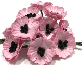 Pink Mulberry Paper Poppies Pop02
