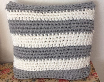 Crocheted cushion - handmade textile yarn