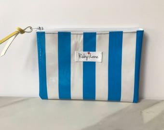 Mini Oilcloth pouch / Mini pouch / Zipper pouch / Gift idea for her / Blue and white stripe