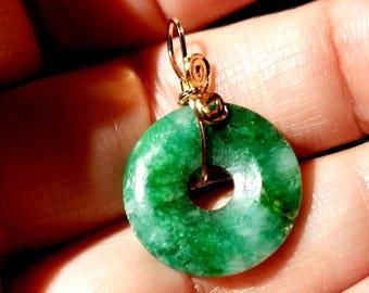 Apple Green Jade Pendant, Jade pendent, Jadeite pendant,  Apple Green Jade Antique Qing Dynasty Bi necklace with 14 kt GF Bail