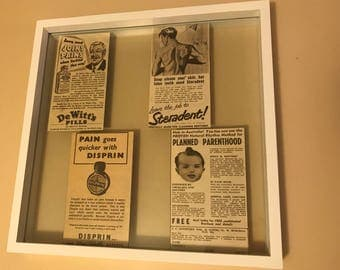 Authenic 1950's Vintage Newspaper Health Clippings Framed