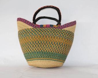 Mixed Vabrant Woven Large Basket Bag