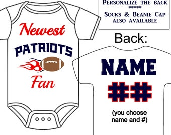 Football baby gift etsy newest patriots fan custom made personalized gerber onesie football jersey optional socks beanie hat great negle Image collections