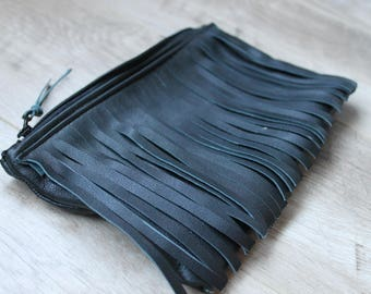 Black upcycled leather fringed bag// hand cut tassel clutch bag