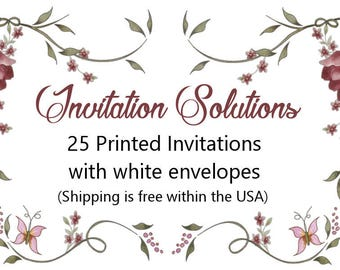 25 Printed invitations with envelopes - Add-on for custom invitations