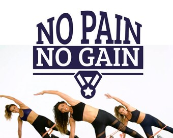 No Pain No Gain Decal, Motivation Decals, No Pain Sticker, No Gain Sticker, Gym Decal, Motivation Quotes, Quote Decals, Workout Decals,