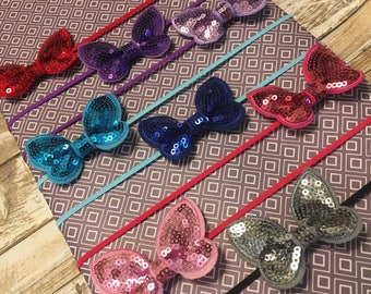 10 Colors - Butterfly Sequin Bow Skinny Headband for Girls Newborn,Infant,Baby,Toddler,Child