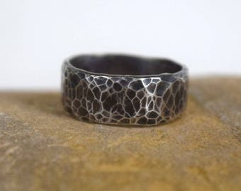 Hammered ring, textured ring, sterling silver ring, hammered ring size 9 1/2 US, Sterling Silver ring size 9 1/2,