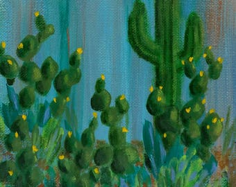 Cacti with Yellow Blossoms: acrylic painting desert succulent flower charity saguaro