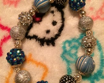 Blue or Pink- n- White - Swirls Glam Bracelet