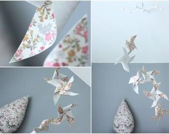 "Mobile 6 pinwheels tissue paper & fabric ""Liberty"""