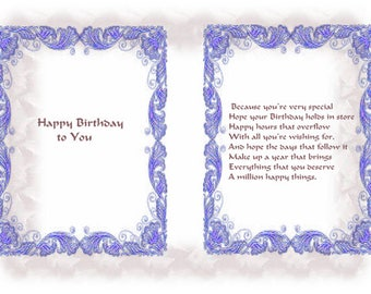 Patterned Bordered designs Birthday card inserts with verse
