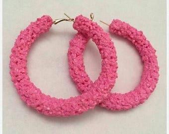 Barbie pink crystal hoop earrings