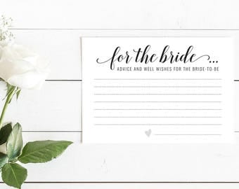Black and White Advice and Well Wishes for the Bride Cards