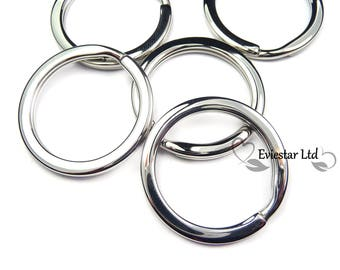 Key Rings, 304 Grade Stainless Steel Double Split Rings, Outer Diameter 28mm, Flat Key Rings Ideal for Keys and Crafts, KP4