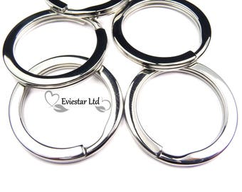 Key Rings, 304 Grade Stainless Steel Double Split Rings, Outer Diameter 32mm, Flat Key Rings Ideal for Keys and Crafts, KP3