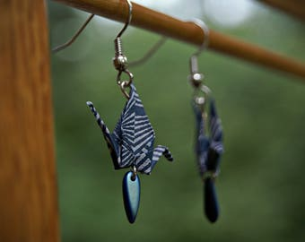 Handmade Striped Origami Blue Earrings