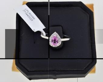 0.35CT Round Cut Engagement Ring band set in Solid 14k White Gold Bridal, Wedding Set , Engagement Set, Wedding band, Pink Sapphire Ring