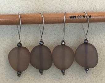Set of 4 Smoked Stone Knitting Stitch Markers
