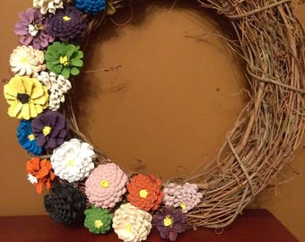 Hand Crafted - Hand Painted Spring Flower Pine Cone Wreath