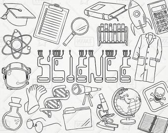 Doodle Science Vector Pack, Science Doodles, Mad Scientist Clipart, Experiment Clipart, Science Graphics, Science Stickers, SVG,PNG file