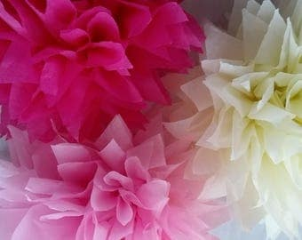 Pink wedding decorations / Tissue paper pom poms / Birthday decor / Marquees / Corporate events / Proms / Baby Showers / Home decor