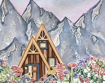 "Cabin & Wildflowers Watercolor 5x7"" Framed"