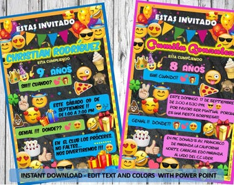 Invitation of EMOJIS, INSTANT DOWNLOAD. Editable in Power Point. Emoji decoration. Candy Bar