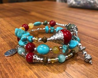 Turquoise & silver wrap bracelet